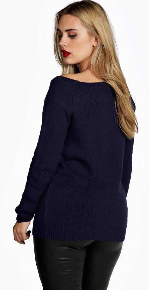 Modrý dámský pletený svetr