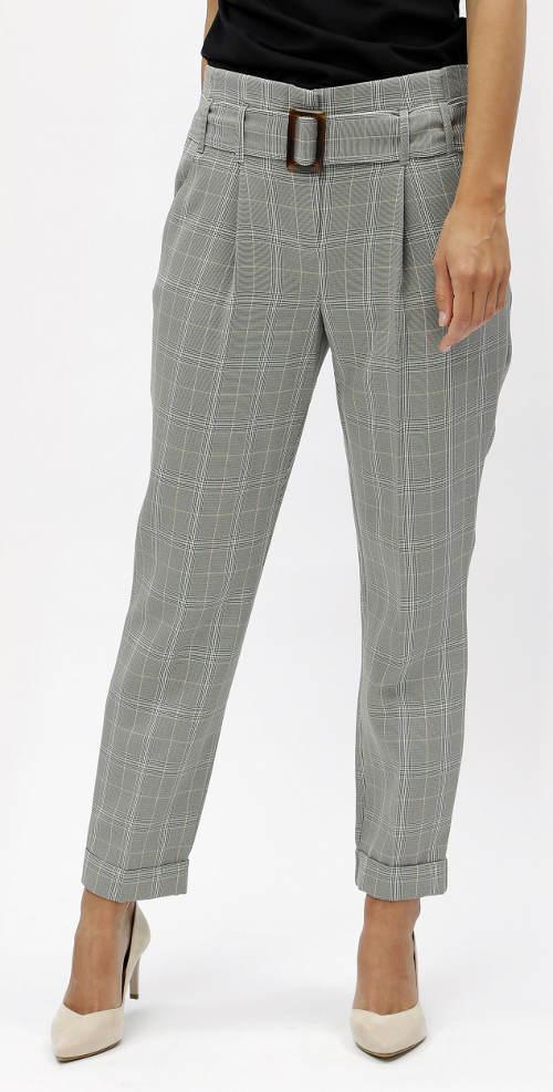 Šedé společenské kostkované kalhoty s vysokým pasem