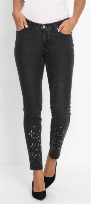 Skinny džíny s dírkovou výšivkou