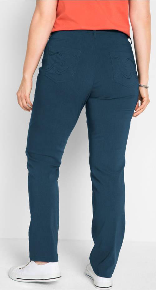 Tmavě modré nadměrné dámské kalhoty