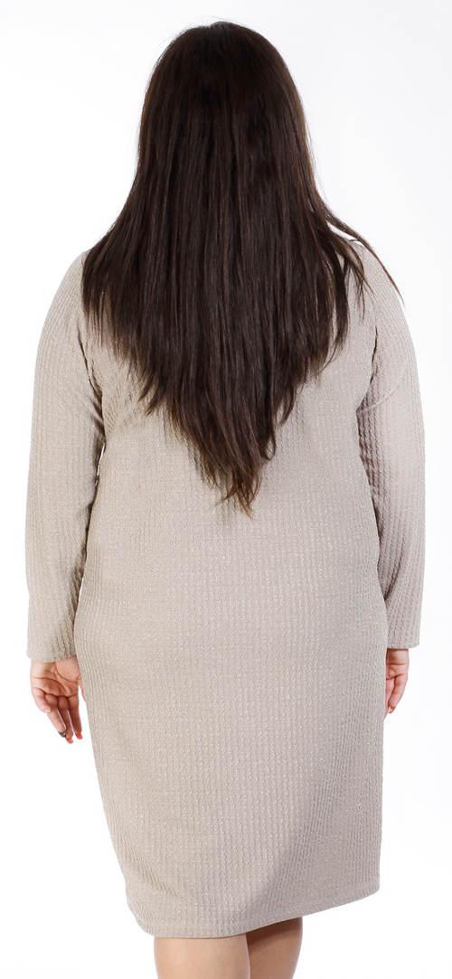 Béžové zimní šaty pro silnější postavy