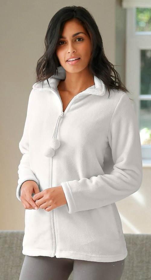 Bílá dámská fleecová bunda
