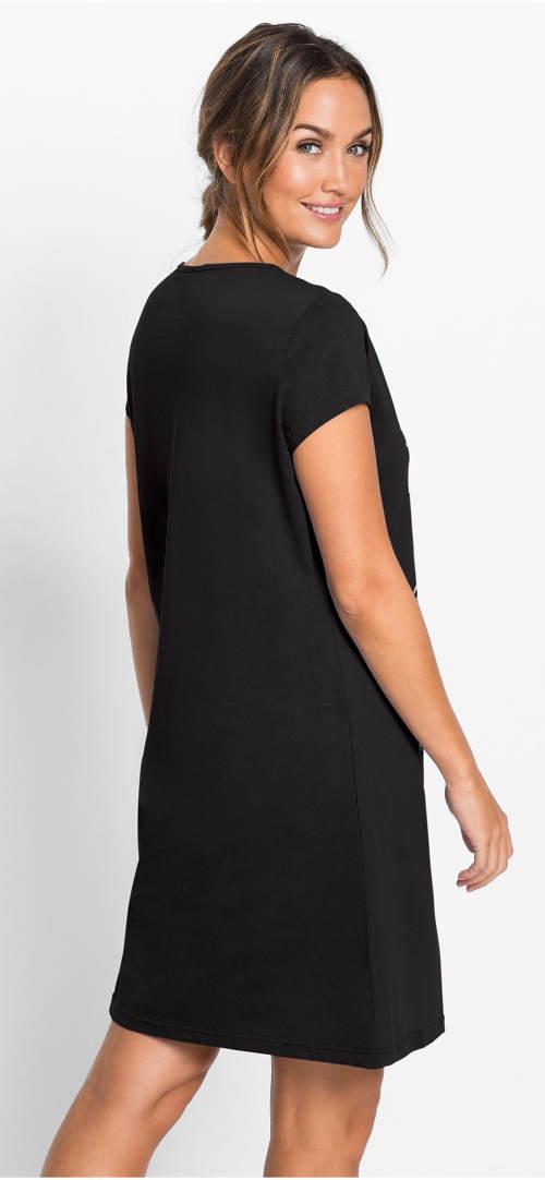 Černá bavlněná dámská noční košile