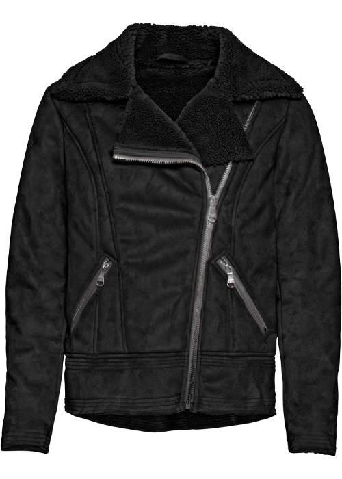 Černá kožená dámská bunda s kožíškem