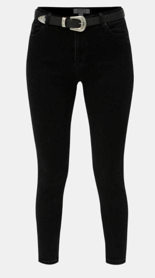Černé dámské skinny XXL džíny s páskem
