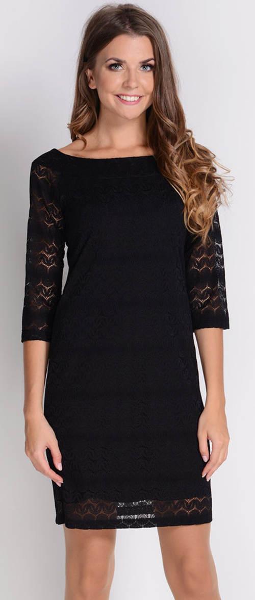 Černé krajkové šaty s látkovou podšívkou