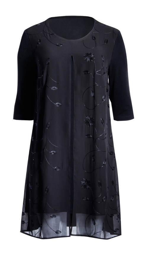 Černé tunikové šaty pro plnoštíhlé