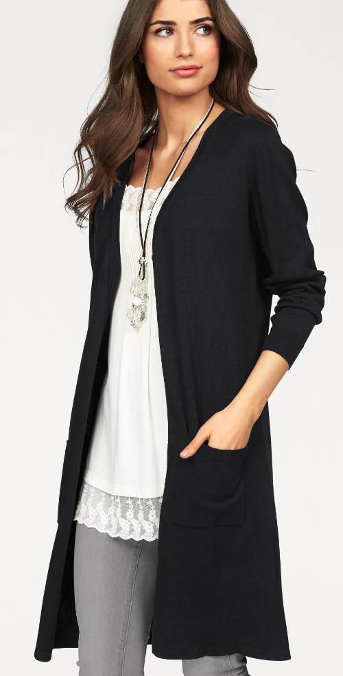 Černý dámský svetr ke kolenům