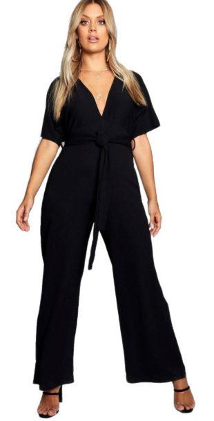 Černý kalhotový overal s kimono rukávy