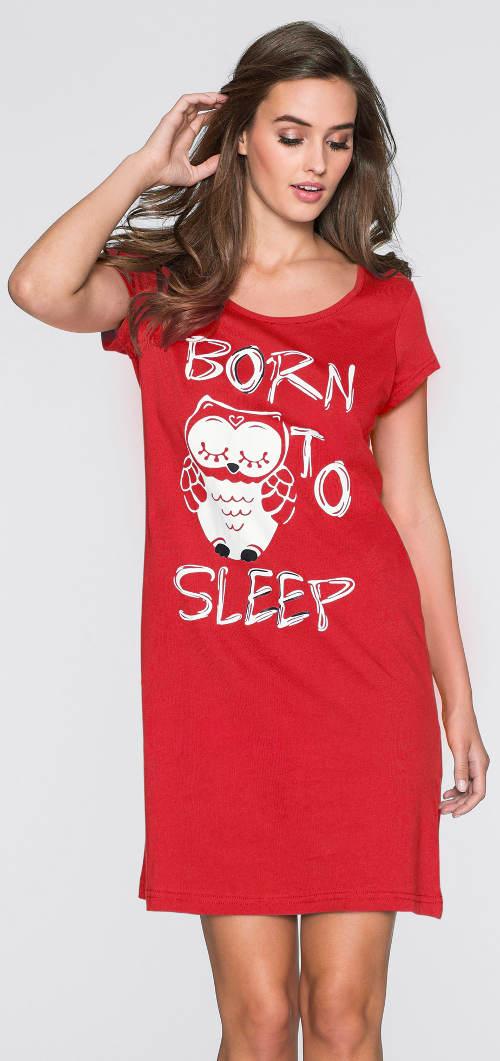 Červená noční košilka sova