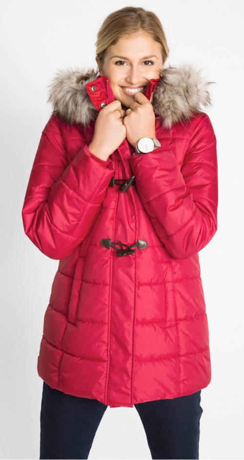 Červená zimní těhotenská bunda