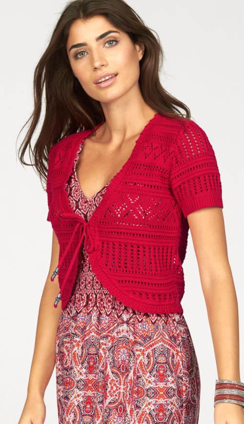 Červené pletené bolerko