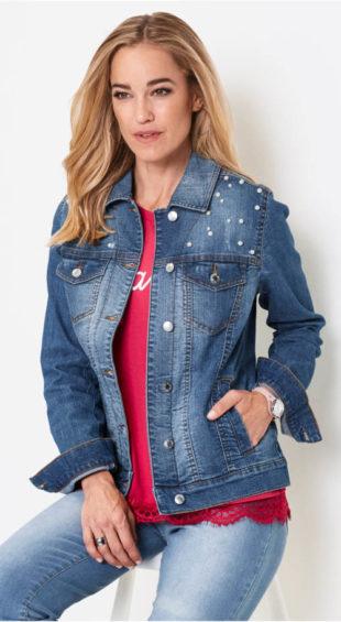 Dámská džínová bunda s perličkami