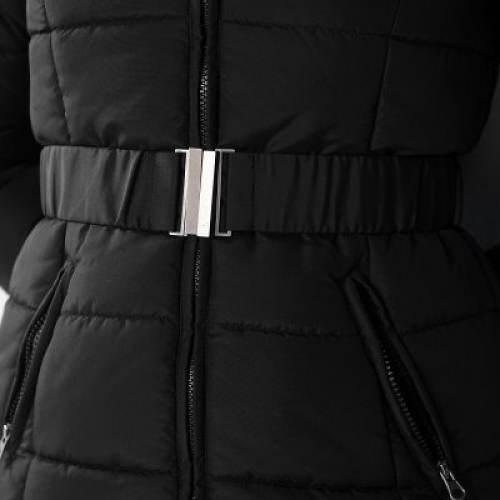 Dámská zimní bunda s opaskem na sponu