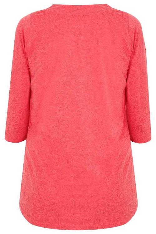 Delší růžové dámské tričko pro boubelky