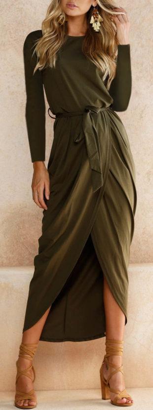 Dlouhé společenské maxi šaty khaki barvy