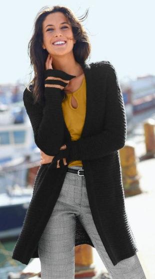Dlouhý dámský svetr z mohérového úpletu
