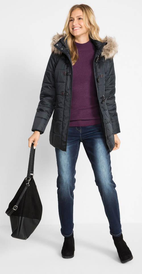 Jednobarevná černá dámská prošívaná bunda