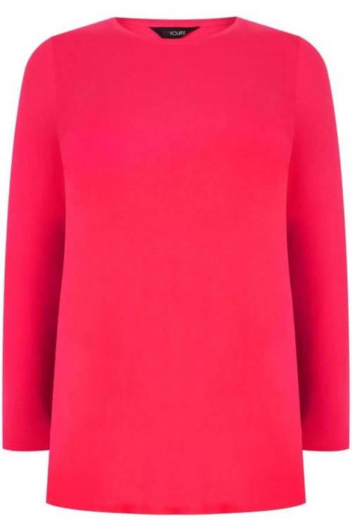 Jednobarevné růžové dámské tričko bez potisku