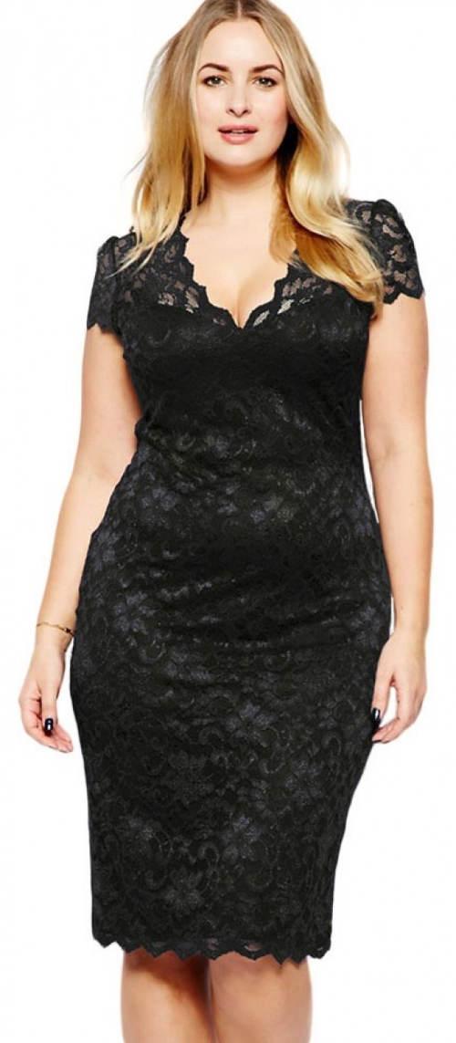 Krajkové midi černé plesové šaty pro plnoštíhlé