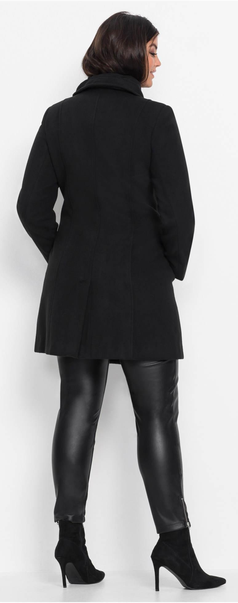 Levný černý dámský zimní kabát