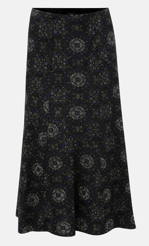 Manšestrová midi sukně se vzorem