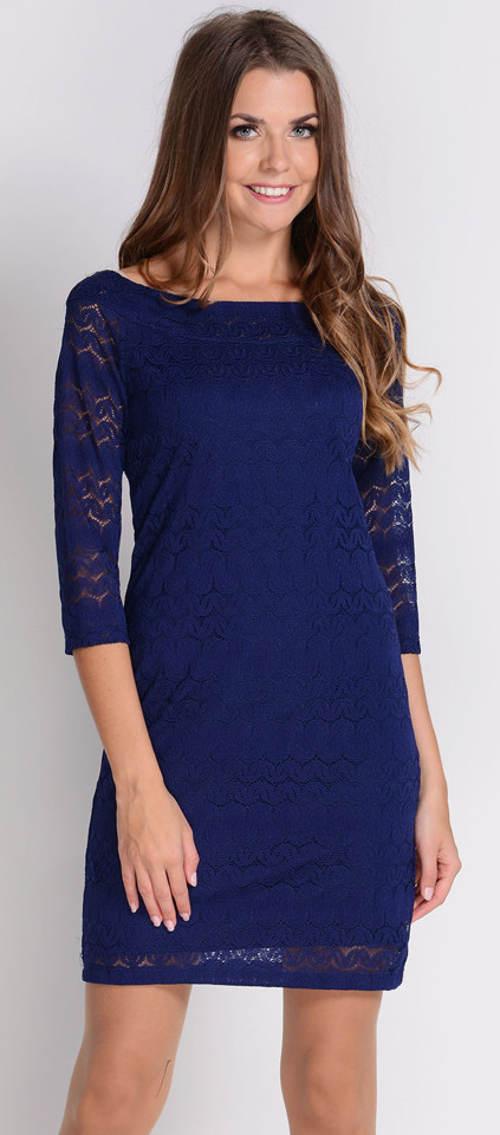 Modré krajkové šaty s tříčtvrtečním rukávem