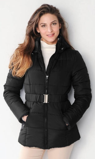 Nadměrná dámská zimní bunda s odnímatelnou kapucí