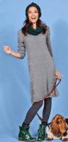 Pletené dámské šaty s dlouhým rukávem