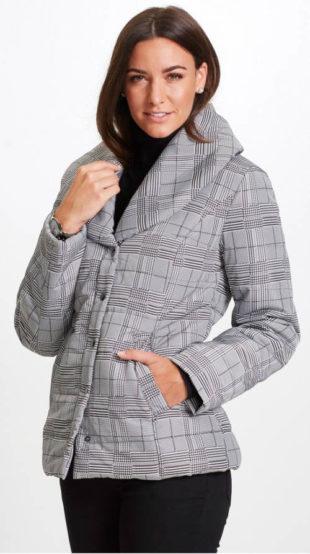 Prošívaná karovaná bunda s šálovým límcem