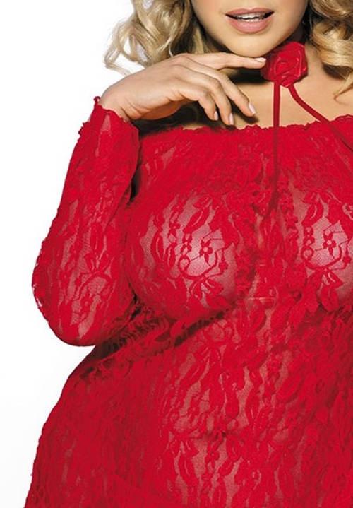 Rudá krajková noční košilka pro plnoštíhlé