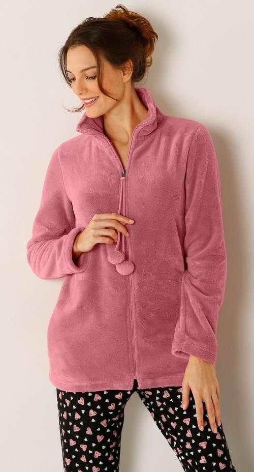 Růžová dámská bunda s bambulkami