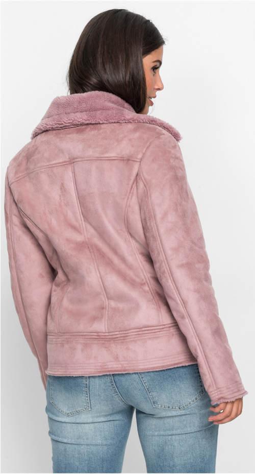 Růžová kožená dámská zimní bunda