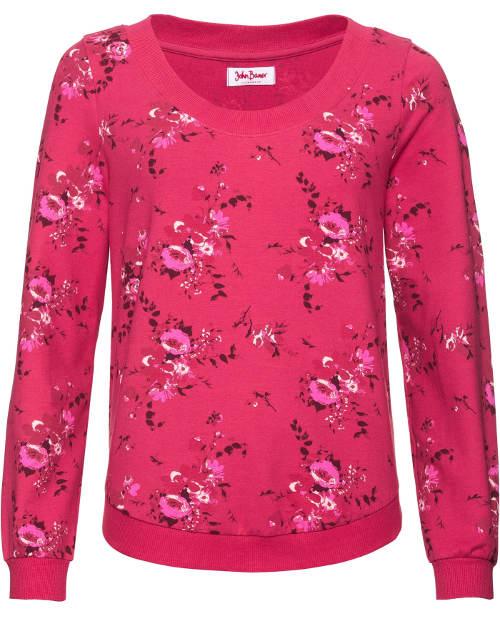 Růžová květinová dámská mikina