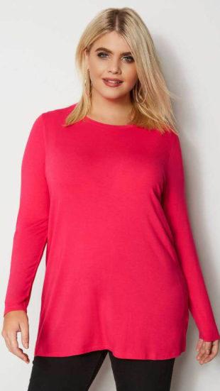Růžové nadměrné tričko s dlouhým rukávem