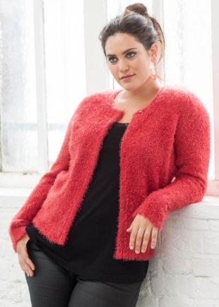 Sametový červený dámský svetr