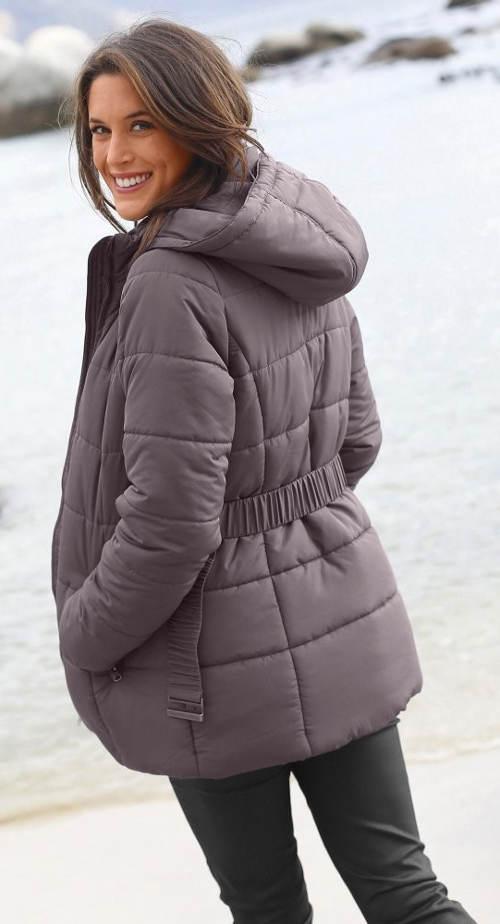 Šedá dámská prošívaná bunda pro baculky