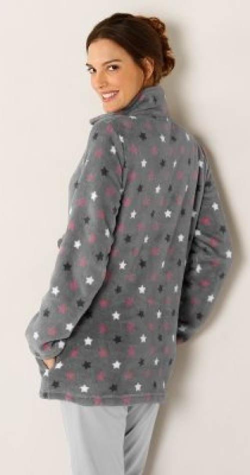 Šedá mikinová bunda s hvězdičkami
