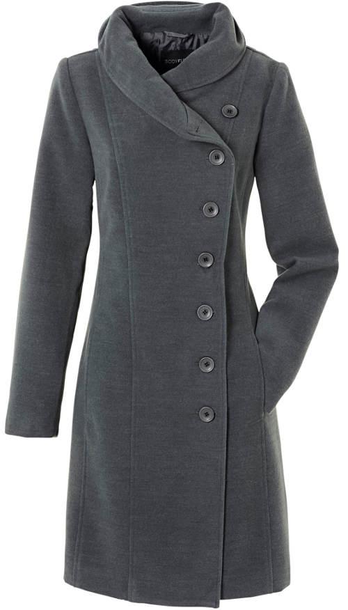 Šedý dámský kabát se stojáčkem