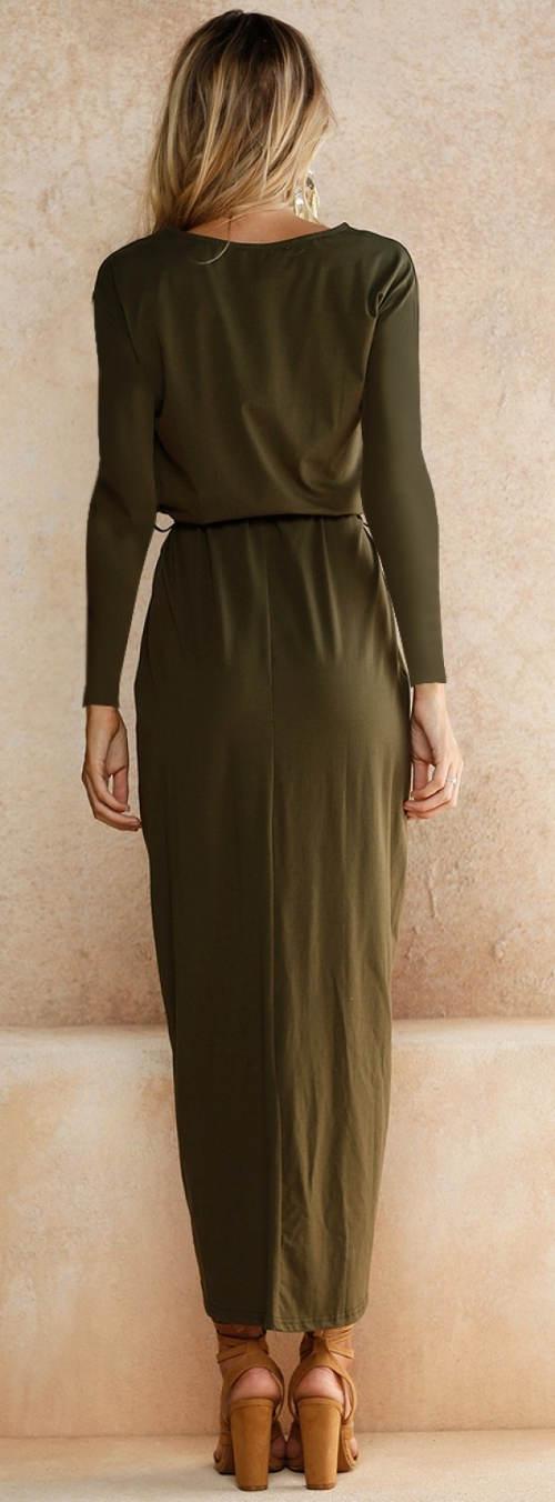 Společenské khaki šaty s dlouhým rukávem