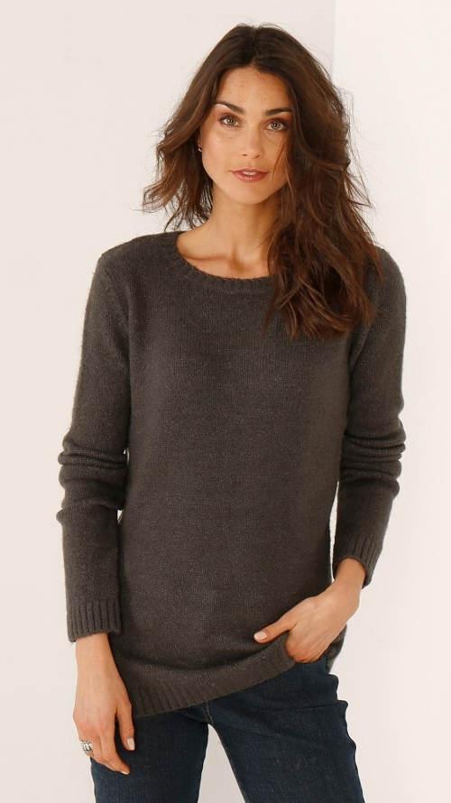 Společenský hnědý dámský svetr