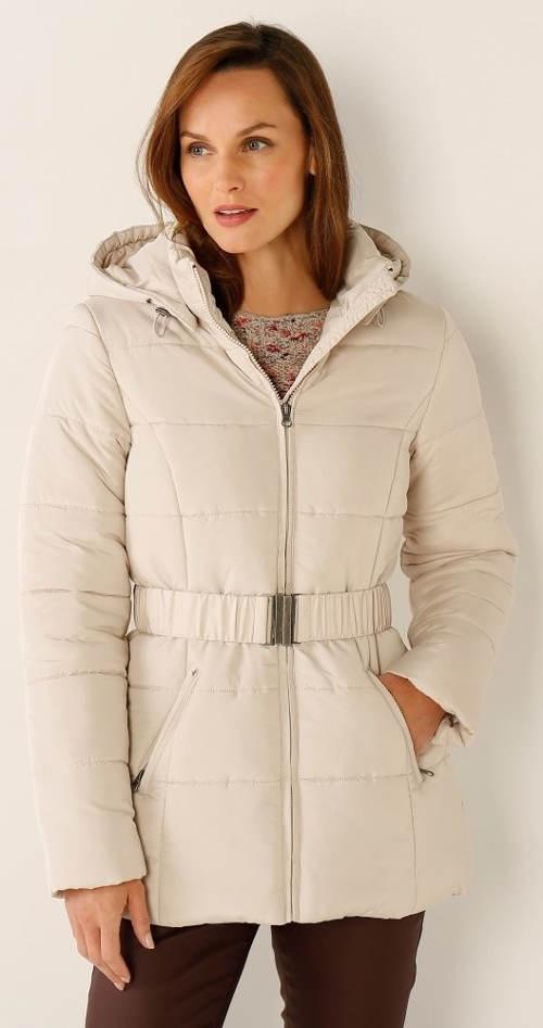 Světlá zimní bunda s opaskem pro starší
