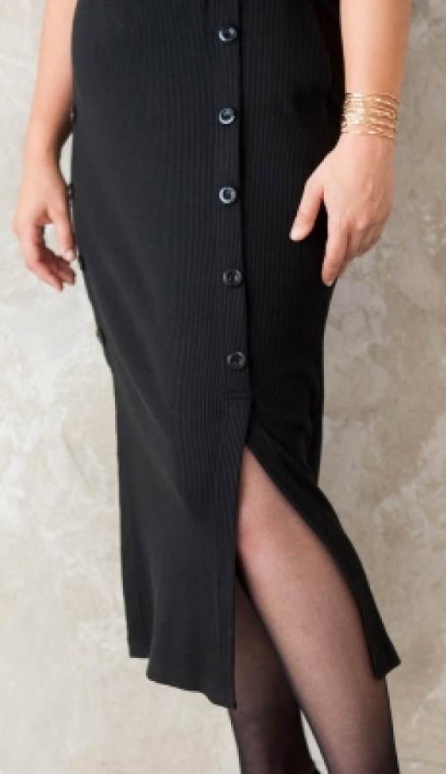 Úpletová černá sukně s knoflíky