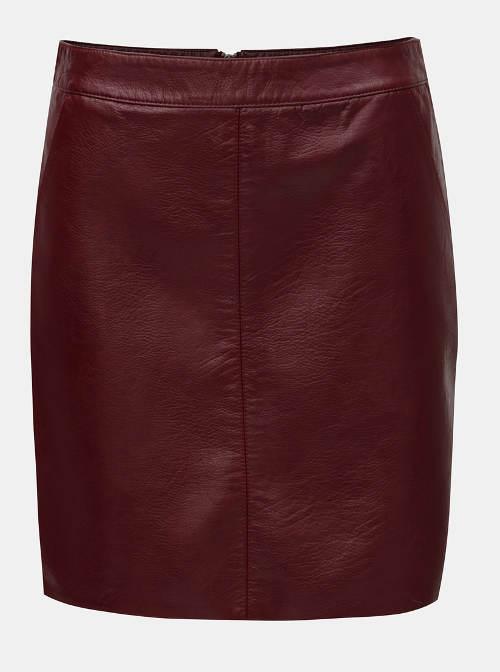 Vínová koženková sukně pro širší boky