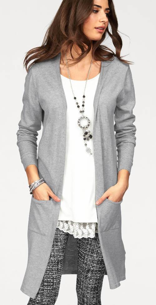Světle šedý dlouhý dámský svetr