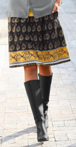Vzdušná jarní sukně pro plnoštíhlé