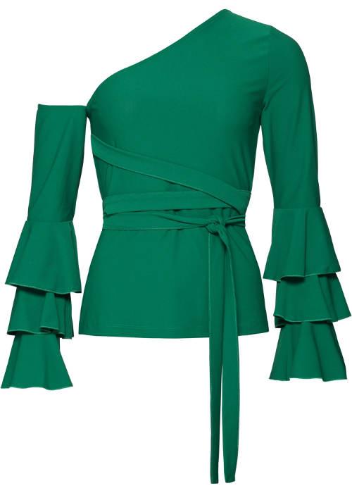 Zelený společenský top na jedno rameno