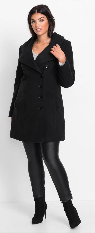 Zimní dámský kabát pro silnější postavy