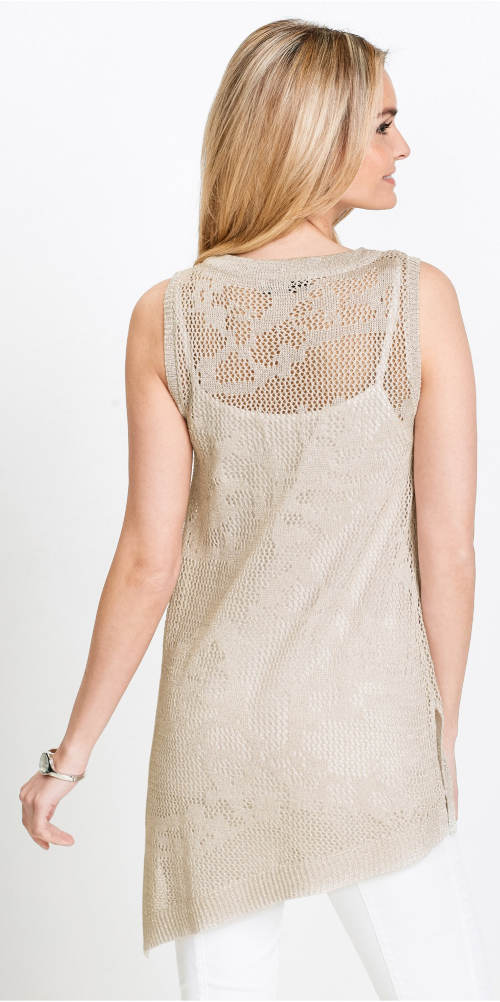 Béžový pletený dámský top