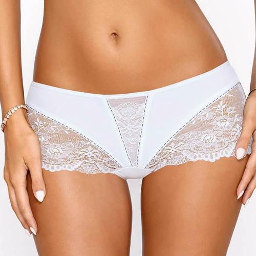 Bílé krajkové nohavičkové kalhotky